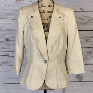 White House Black Market Tan Linen Blazer 10